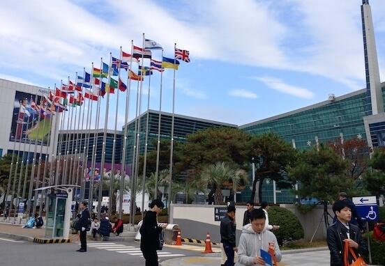 דגל ישראל מתנופף בכנס המשחקים בבוסאן, דרום קוריאה